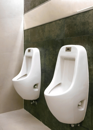 modern restroom interior photo with urinal row
