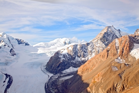 Aerial View of Mountain Cook National Park with Fanz Josef Glacier Landscape New Zealand photo