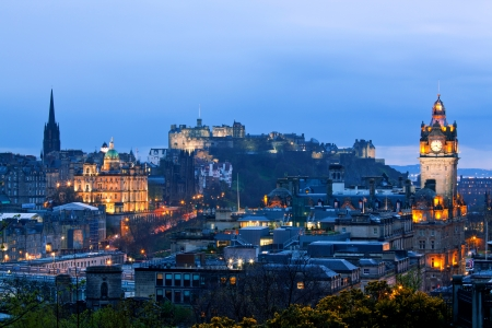 Edinburgh Cityscape and castle from Calton Hill at dusk Scotland UK Stock Photo - 13714711