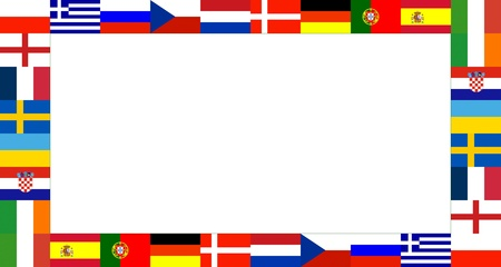 16 National flag Frame Pattern with white background photo