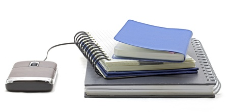 digital library: stack of book with mouse for e-learning Concept Stock Photo