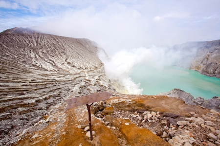 stone volcanic stones: landscape of Ijen Crater Indonesia with Lake and Blue sky
