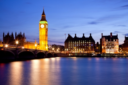 abbey: Landscape of Big Ben and Westminster Bridge with river Thames London England UK Stock Photo
