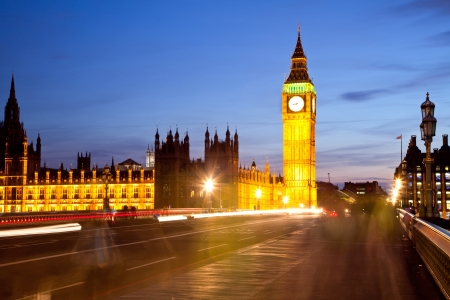 Landscape of Big Ben and crowd at Westminster Bridge London England UK photo