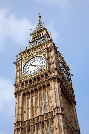 Close up of Big Ben Against Blue Sky England United Kingdom photo