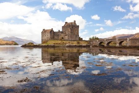 scotland: Reflection of Eilean Donan Castle, Highland Scotland.