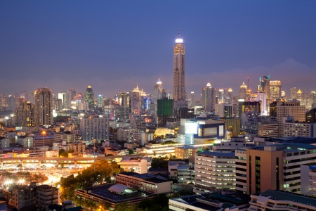 technoligy: Aerial View of Bangkok Skylines at Victory Monument Downtown Cityscape at Dusk Editorial