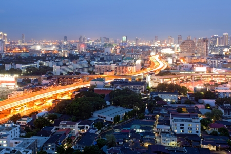 expressway: Citscape of Bangkok Skylines at Victory Monument Downtown at Dusk aerial view Editorial