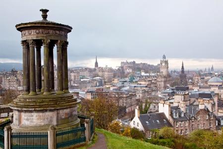 Edinburgh Skylines building and castle from Calton Hill Scotland UK photo