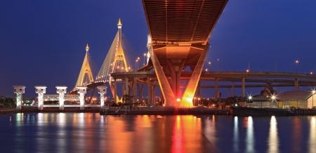 Panorama of Mega Bhumibol Industrial Bridge Bangkok at dusk photo