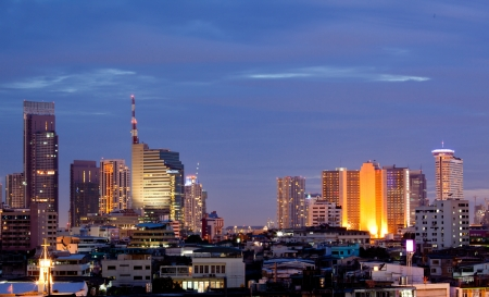 Aerial view of Bangkok skylines building at downtown area at dusk photo