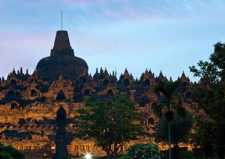 yogyakarta: Borobudur Temple at Dusk in Yogyakarta, Java, Indonesia.
