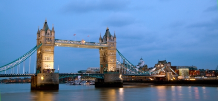 London Tower Bridge Panorama at dusk England UK photo
