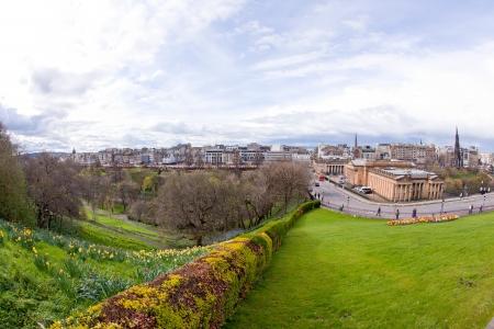 Edinburgh skyline with garden Scotland UK photo