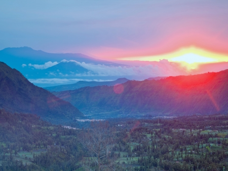 Sunrise at Bromo Village Volcano Indonesia
