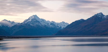 panorama Sunset Landscape  of Mount cook and lake Pukaki New Zealand photo