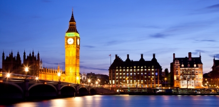 Panorama Landscape of Big Ben and Westminster Bridge with river Thames London England UK photo