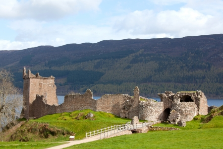 Landscape Ruins of Urquhart Castle at Loch Ness Inverness Highlands Scotland UK