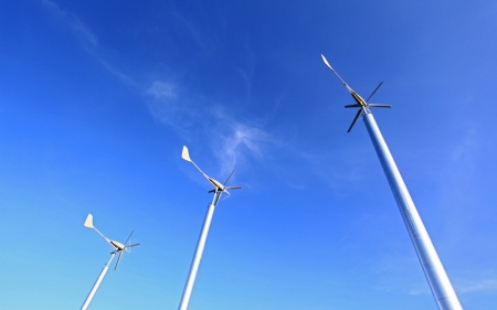 Wind Turbines Farm using as Green Power and Energy photo