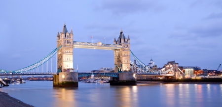 Panorama of Tower Bridge at dusk London England UK photo