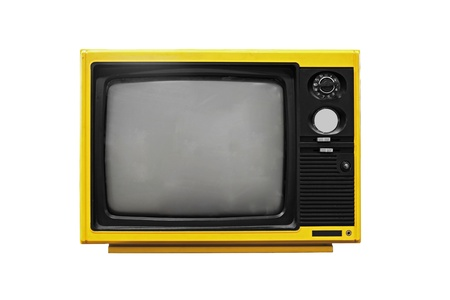 tv news: Vintage Yellow TV isolated on white background