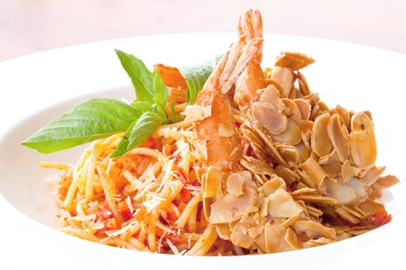 Spaghetti with Almond Shrimp meal cuisine photo