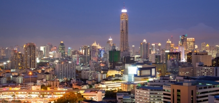 Panorama Aerial View of Bangkok Skylines at Victory Monument Downtown Cityscape at Dusk photo