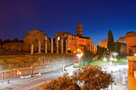 Roman Forum at dusk Rome Italy photo