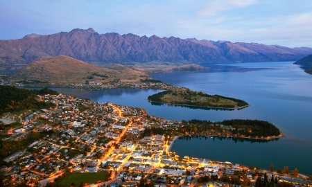 Queenstown downtown aerial view New Zealand at Dusk Stock Photo