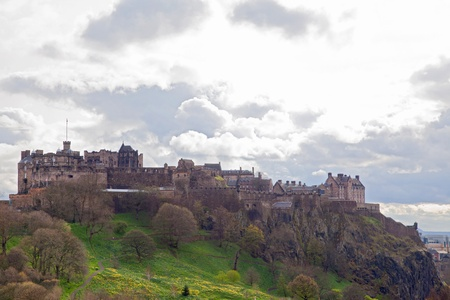 Landscape of Edinburgh Castle with cloudscape