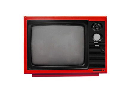 retro tv: Vintage Red TV isolated on white background