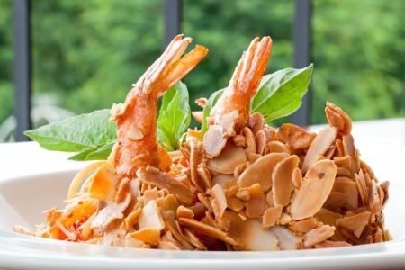 Spaghetti with Almond Shrimp meal cuisine photo