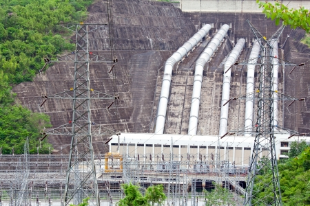 hydroelectric Power Plant with Pipeline from Dam photo