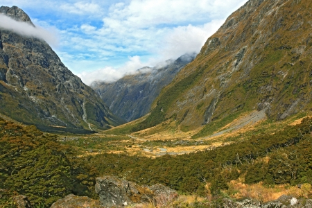 New Zealand Fiordland Mountain Landscape at the Milford Sound photo