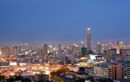 technoligy: Aerial view of Bangkok skylines building at downtown area at dusk