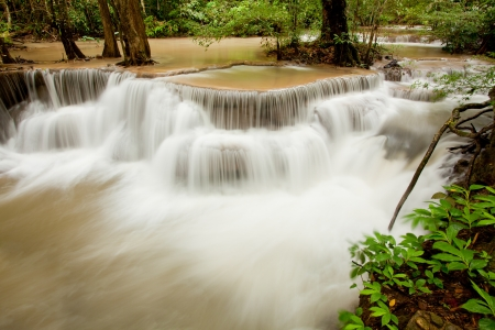 Water flowing in Tropical Waterfall Thailand photo