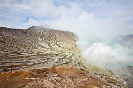 Sulfur Mine at Khawa Ijen Volcano Crater Java Island Indonesia photo