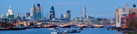 Panorama of St. Paul Cathedral and Skylines From Waterloo Bridge along River Thames in London England United Kingdom
