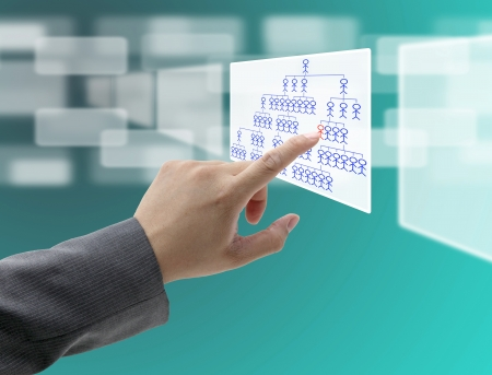 man hand do organization chart on touch screen interface for build business concept photo