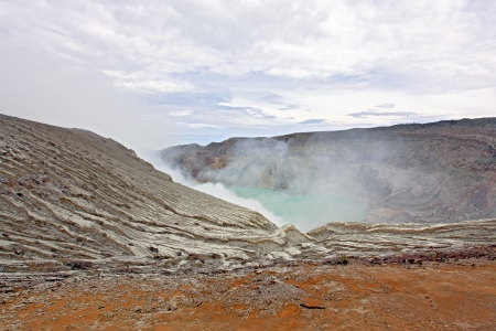Crater of volcano Khava Ijen, Sulfur mine in Java Island Indonesia. photo