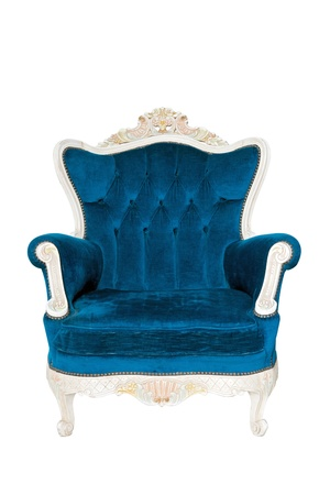 Vintage luxury Blue sofa Armchair isolated on white background with Clipping path photo