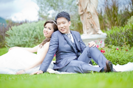 Portrait of Romantic Newleweds Couples for wedding background photo