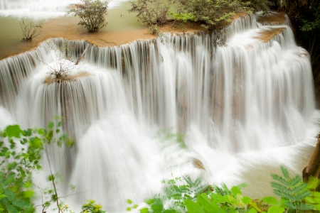 Part of Tropical Rain forest waterfall in National Park in Thailand
