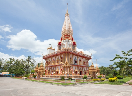 phuket province: Architecture of Wat Chalong temple, Landmark of Phuket Andaman Thailand