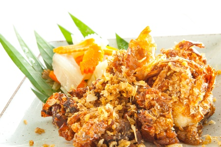 Gourmet deep fried Soft Shell Crab garlic and pepper meal  photo