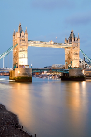 London Tower Bridge at dusk England UK