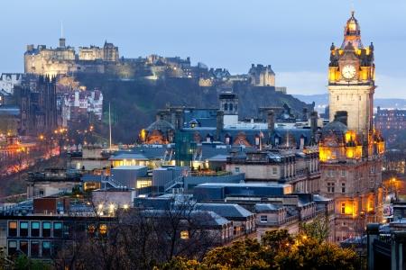 Edinburgh Cityscape from Calton Hill at dusk Scotland UK