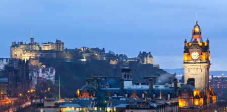 Edinburgh Panorama Cityscape from Calton Hill at dusk Scotland UK