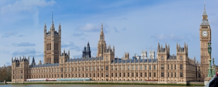 Panorama of Big Ben and House of Parliament at River Thame London England UK photo