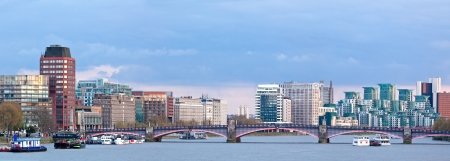 Panorama of London Skylines Skyscrapers along River thames England UK photo